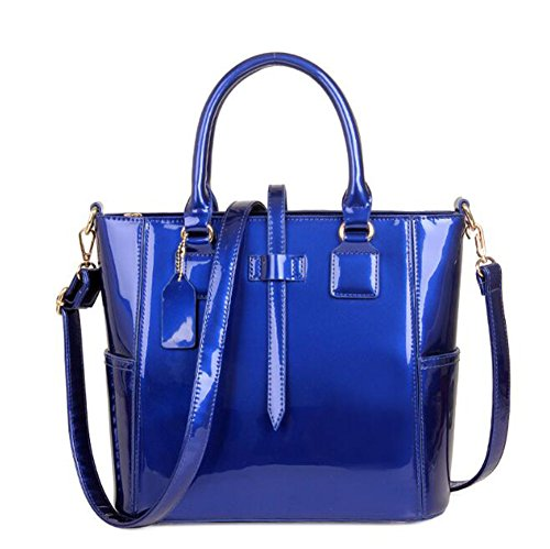 en LXYIUN Paquet Pièces Sac Mère Paquet De Blue Main Femmes Sac Cuir Set À Diagonal Cuir Carte Costume Trois Red Verni Sac en pUpgrxwq