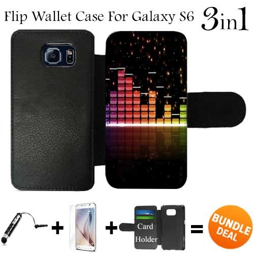 Glow Music Visualizer Custom Galaxy S6 Cases Flip Wallet Case,Bundle 3in1 Comes with HD Tempered Glass/Universal Stylus Pen by - Glasses Visualizer