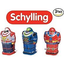 Schylling Classic Toy Tin Robot Wind Up, Set of 3. IMA Robot, Z-Bot, X-306