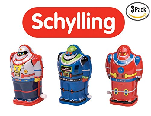 Schylling Classic Toy Tin Robot Wind Up, Set of 3. IMA Robot, Z-Bot, X-306