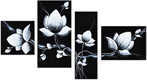 Noah Art-Black and White Flower Wall Art, 100 Hand Painted with Acrylic Tulip Flower Oil Paintings on Canvas, 4 Piece Framed Gallery-Wrapped Floral Art for Bedroom Wall Decoration
