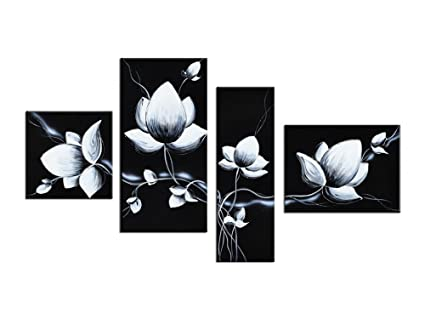 Amazon.com: Noah Art-Black and White Flower Wall Art, 100% Hand ...