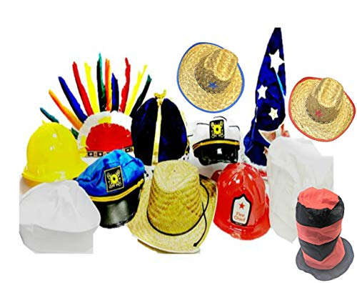Funny Dress Up and Role Play Costume Hats for Kids - Includes 5 Random Crazy Hats for Crazy Hat Day, Birthday Party Fun, and Pretend Play Costumes