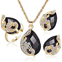 Women Fashion 3pcs Jewelry Sets Crystal Necklace Ring Earrings For Wedding