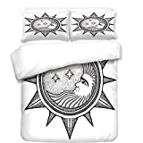 3Pcs Duvet Cover Set,Occult Decor,Moon Inside The Sun with Stars Alchemy Clandestine Esoteric Solar Crescent Art,Black Grey,Best Bedding Gifts for Family/Friends