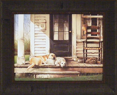 Retriever Print (Chase & Molly by John Rossini 17x21 Labrador Retriever Dogs Labs Sleeping Porch Rocking Chair Framed Art Print Picture)