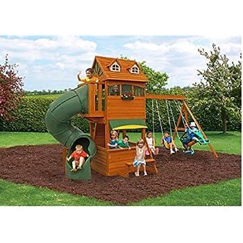 Amazon Com Cedar Swing Set Spiral Slide Lemonaide Stand Rock Wall