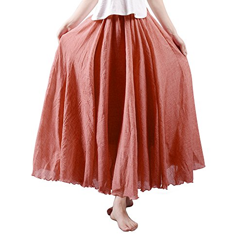 OCHENTA Women's Bohemian Elastic Waist Cotton Floor Length Skirt, Flowing Maxi Big Hem Rust Red 85CM