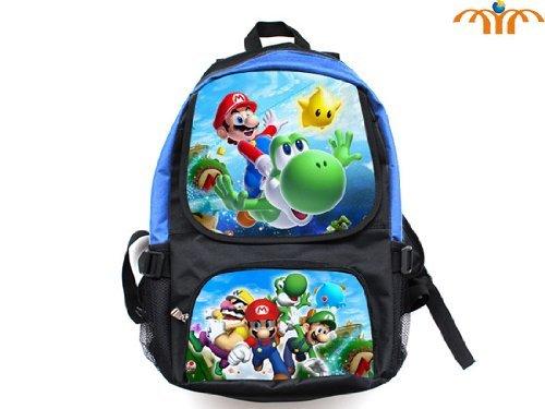 Super Mario (Mario Flying Yoshi) and (Mario Luigi Wario) Full Size School Backpack 17