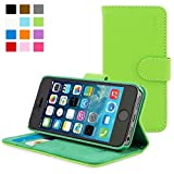 iPhone 5 / 5s Case, Snugg - Leather Wallet Cover Case with (Green) for Apple iPhone 5 / 5s