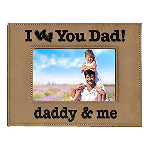 GIFT FOR DAD Engraved Leatherette Picture Frame I Love You Dad