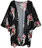 Finoceans Womens Floral Print Kimono Cardigans Loose Beach Cover up Black XXL