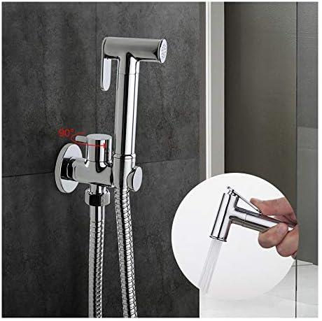 個人衛生やペットの入浴用クロームビデスプレー真鍮トイレスプレーシングル冷水円筒ハンドシャワータップ90度スイッチ