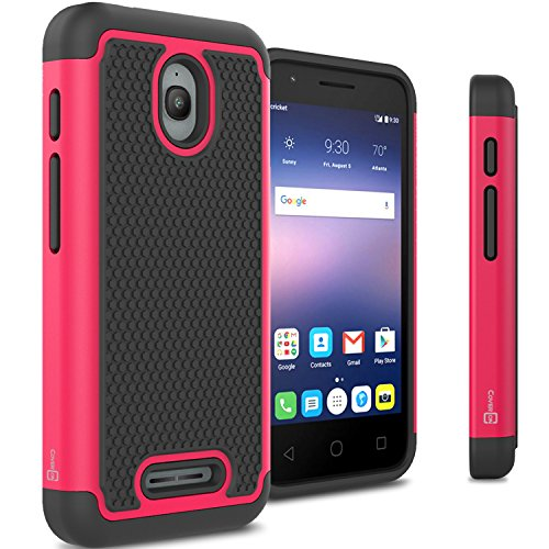 Alcatel Dawn Case, Alcatel Streak Case, Alcatel Ideal Case, CoverON [HexaGuard Series] Slim Hybrid Hard Case for Alcatel One touch Dawn – Hot Pink (Not Fit Ideal Xcite)