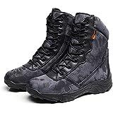 (sabsta) サバゲー タクティカル ブーツ サイドジッパー 迷彩 トレッキング シューズ アウトドア 登山 通気性 厚い靴底 (クリプティック迷彩 黒 タイフォン, 26.5~27cm)