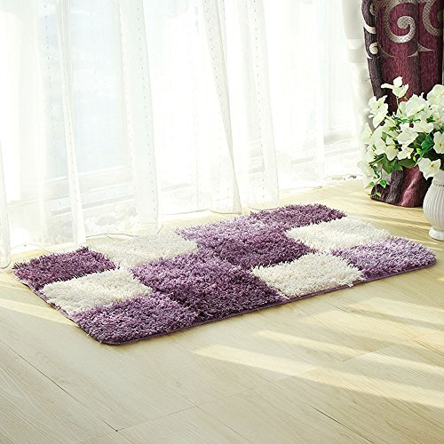 "HEBE Microfiber Area Rugs for Livingroom Bedroom Non Slip Absorbent Bathroom Rugs Shower Mats Floor Carpets Machine Washable(24""×35"", Purple)"