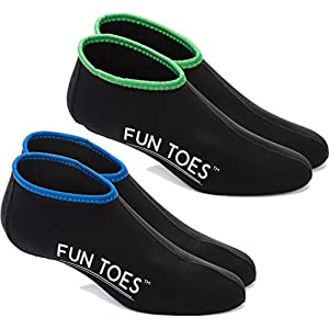 FUN TOES Neoprene Socks for Water Sports for Women & Men - 2 PAIRS of Snorkel Fin Socks for Scuba Diving, Snorkeling, Paddling, Boarding, Jetskiing & More 2.5MM (Black, L Men 9-10.5 Women 10.5-12)
