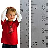 Growth Chart Art | Hanging Wooden Height Growth Chart to Measure Baby, Child, Grandchild - Gray Classic Schoolhouse Ruler with Inches and Centimeters - Wall Decoration for Girls and Boys - 58''x5.75''