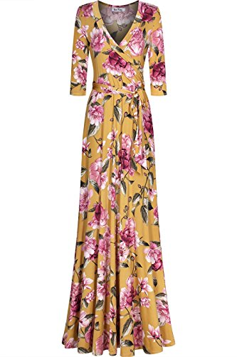 Bon Rosy Women's 3/4 Sleeve Deep V-Neck Printed Maxi Faux Wrap Mothers Day Dress Mustard - Printed Wrap