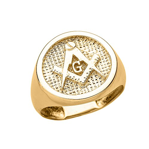 Solid 14k Yellow Gold Square and Compass Masonic Men's Ring(Size 11)
