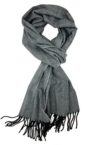 Plum Feathers Plaid Check and Solid Cashmere Feel Winter Scarf (Black Herringbone) (Check Tartan)