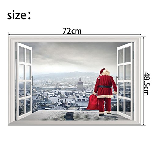 Christmas Eve Creative Window View Sticker, QISC Removable Wall Mural Santa Claus Carrying Gifts outside of Window on Home Decor Wall Decor XMAS Party Scene Setters (A)