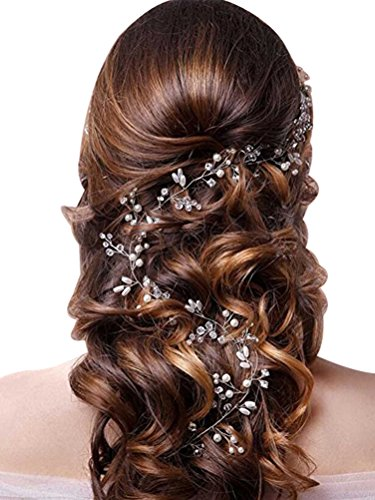 Lovful Women's Extra Long Pearls Hair Accessories Crystals Wedding Bridal Headband Headpieces for Bridesmaid