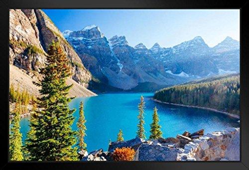 - Moraine Lake Banff National Park Lake Louise Alberta Canada Photo Art Print Framed Poster 20x14 inch