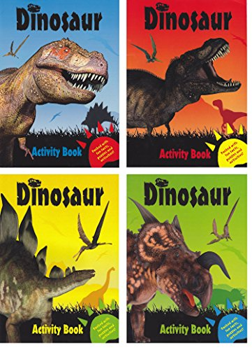 Set of 4 Dinosaur Activity Books ~ Fun Facts, Puzzles, Coloring, Jokes & More! Children's Coloring Activity