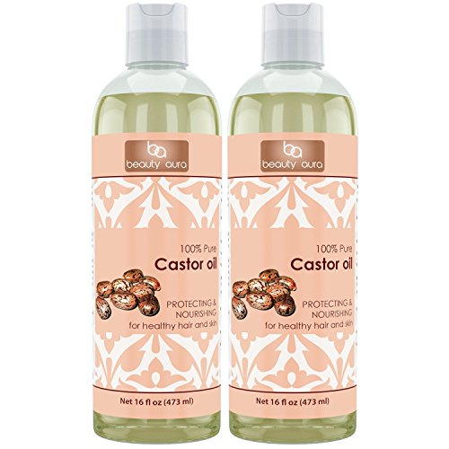 Beauty Aura 100% Pure Castor Oil - Cold Pressed - 16 fl oz (473 ml) - for Healthy Hair, Skin & Nails (Pack of 2)