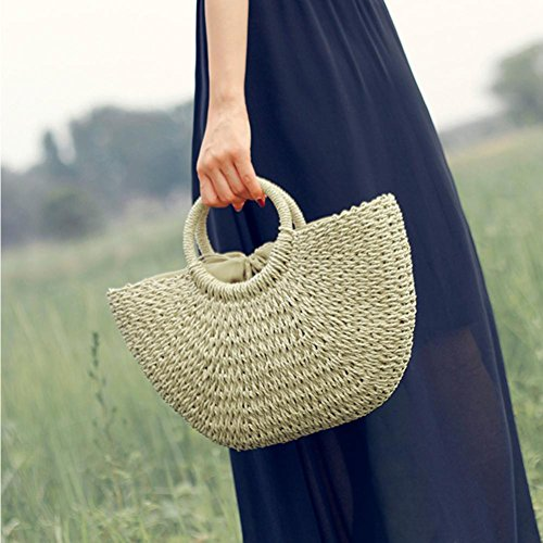 Braided Ring Handle Basket Summer Shopping Retro Bag Woven Straw Beach Chic Beach Handbag Summer Tote Bag Beige with Natural EqHCXH