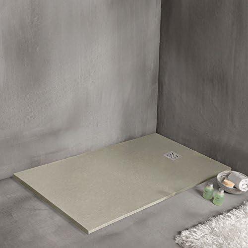 Plato de ducha extra plana en resina mineral – Strato 140 x 100 cm: Amazon.es: Hogar