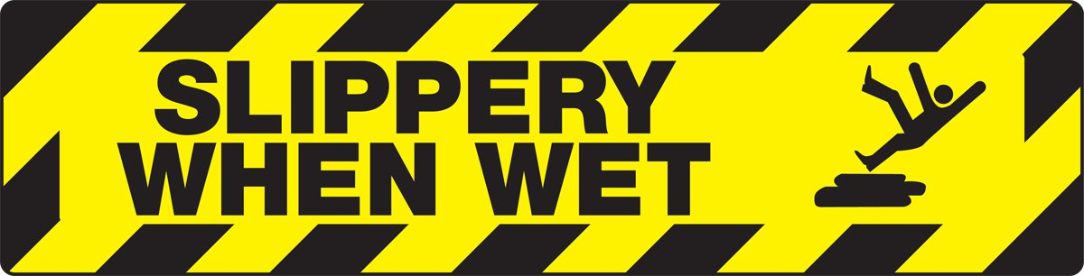 Accuform PSD614 Skid-Gard Non-Slip Adhesive Vinyl Floor Sign 6 Length x 24 Width Black on Yellow LegendSLIPPERY WHEN WET with Graphic 6 Length x 24 Width ACCUFORM SIGNS LegendSLIPPERY WHEN WET with Graphic