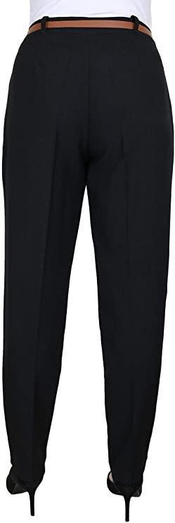 1539 ICE Tapered Leg Smart Soft City Trousers FREE Belt Size 8-22