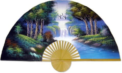 Medium 40 Folding Wall Fan — The Wood — Original Hand-painted Wall Art