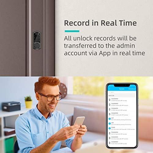 [2020 Newest Version] Keyless Entry Door Lock Deadbolt, Smart Lock Front Door, Electronic Door Locks with Keypads, Digital Auto Lock Bluetooth Smart Door Locks for Homes Bedroom 51MDUUHJVuL