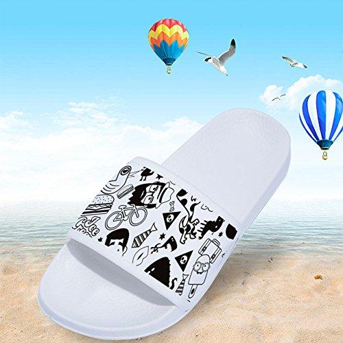 Drying Womens Graffiti Black Simple Quick Slip White Slippers for Non Slippers Pattern wffv1q60