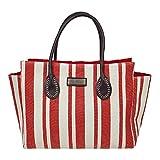 Pia Rossini Women's Maine Nautical Stripe Beach Summer Bag Large Red And White