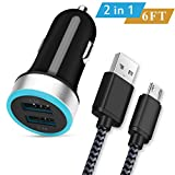 Micro USB Car Charger, WITPRO Dual Port 2.4A Car Charger Adapter with 6Ft Braided Android Charging Cable for Samsung Galaxy S7/S6 Edge, J3 J7, Note 4/5, LG G3 G4 V10, Moto G, HTC, More -Black