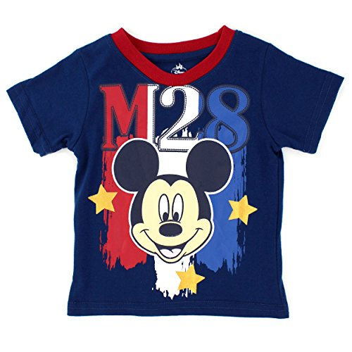 (Disney Mickey Mouse Baby Boys Stars and Stripes Short Sleeve Tee (18M, Navy Mickey))