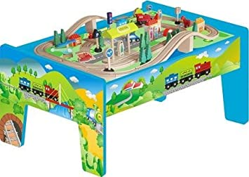 70 Piece Wooden Train Table Set  sc 1 st  Amazon UK & 70 Piece Wooden Train Table Set: Amazon.co.uk: Toys u0026 Games