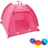 Pink Polka Dotted Foldable Pop Open Cat Play Pet Tent Dog Bed House with 4pcs Plastic Balls