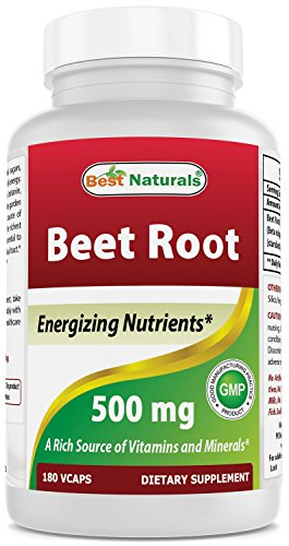 Best Naturals Beet Root Powder 500 Mg Capsules, 180 Count