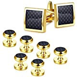 Jstyle Gold Tone Black Cufflinks and Studs Set for Men Tuxedo Studs and Cufflinks Shirt Business Wedding
