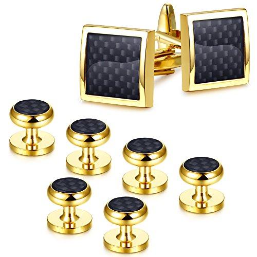 Cufflinks Fiber Cufflinks Carbon (Jstyle Gold Tone Black Cufflinks and Studs Set for Men Tuxedo Studs and Cufflinks Shirt Business Wedding)