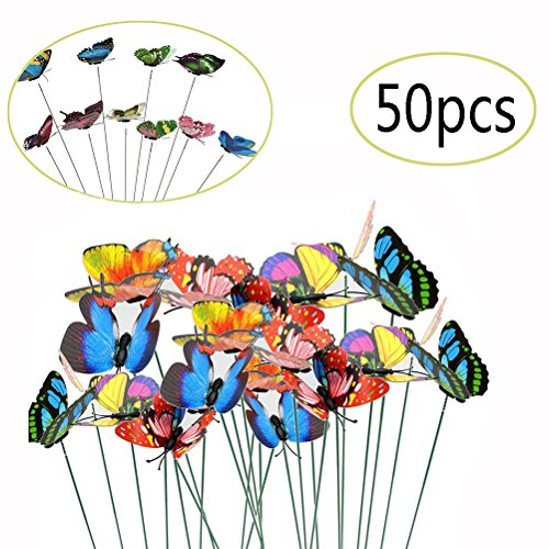 Garden Metal 3d Stake (JUNTING 50PCS Butterfly Stakes 3D Wings Colourful Garden Butterflies On Sticks Butterfly Garden Stakes Miniature Fairy Garden Decorations)