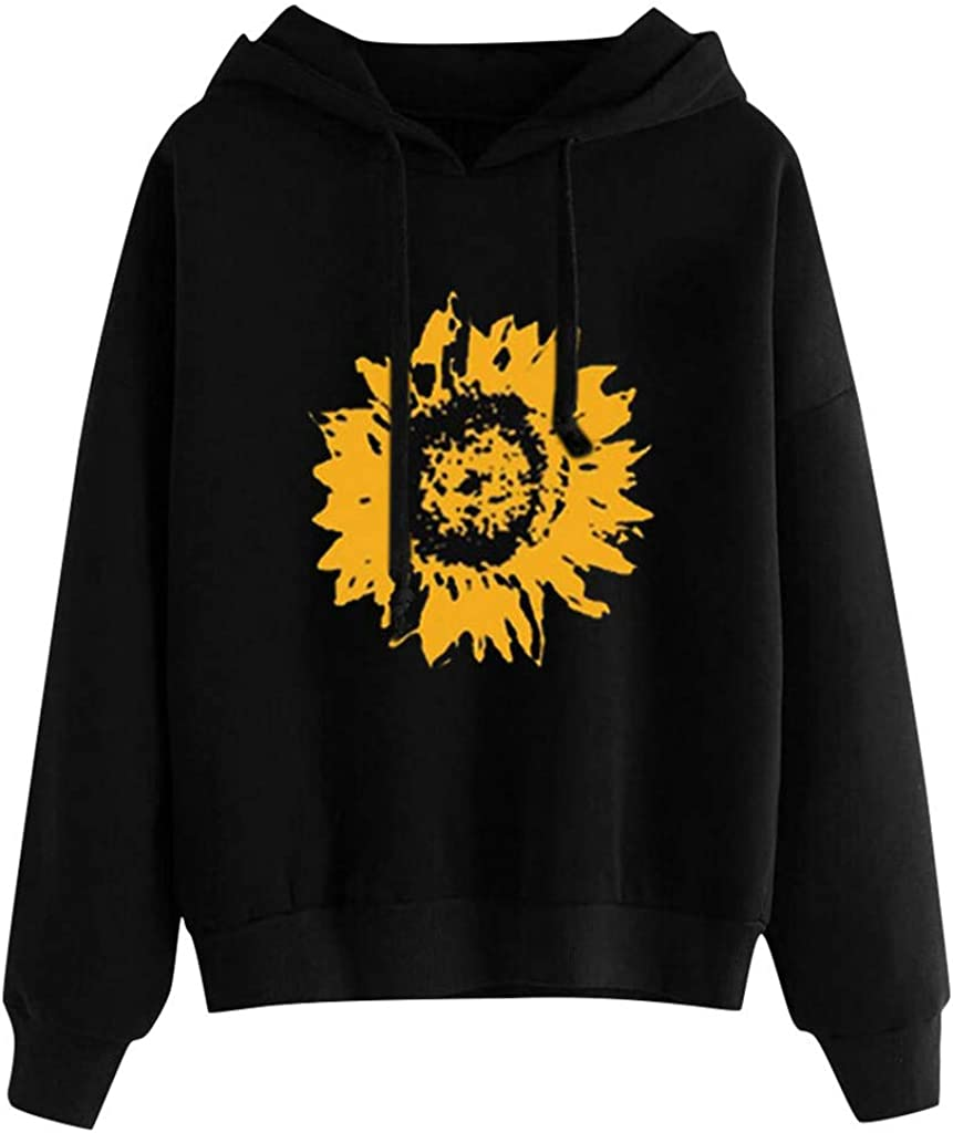 Womens Print Sweatshirt Women Sunflower Long Sleeve Hoodie Tops Loose Pullover Shirts