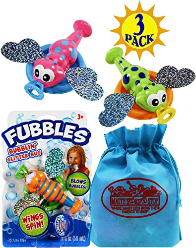 Little Kids Fubbles Bubblin' Glitter Bug Blue/Orange, Pink/Teal & Green/Blue Gift Set Bundle with Bonus Matty's Toy Stop Storage Bag - 3 Pack
