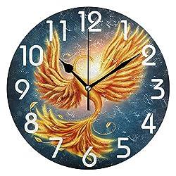 Dozili Magic Firebird Phoenix Print Round Wall Clock Arabic Numerals Design Non Ticking Wall Clock Large for Bedrooms,Living Room,Bathroom