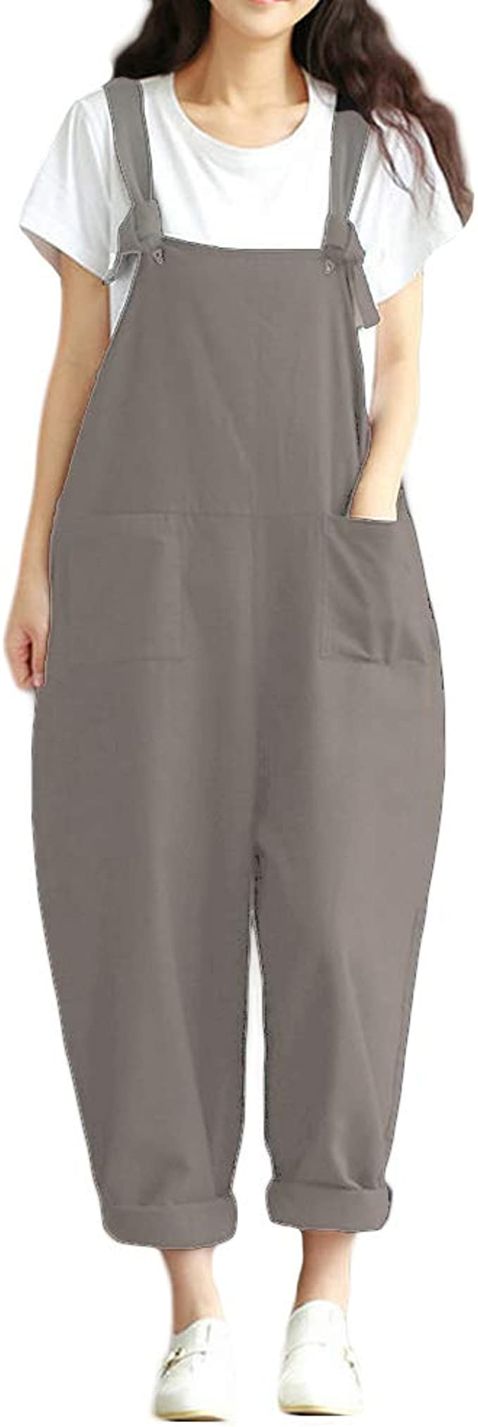 YESNO Women Casual Loose Long Bloomer Bib Pants Overalls Baggy Cotton Jumpsuits Rompers Elastic Cuff Pockets PV5CA